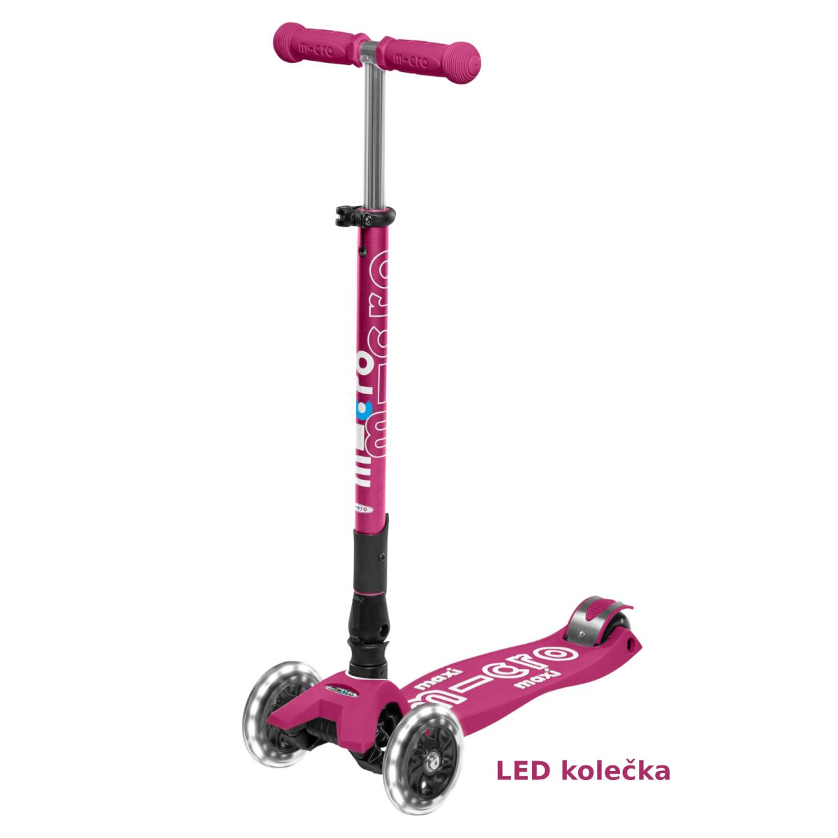 Maxi Micro Deluxe skládací - berry red LED