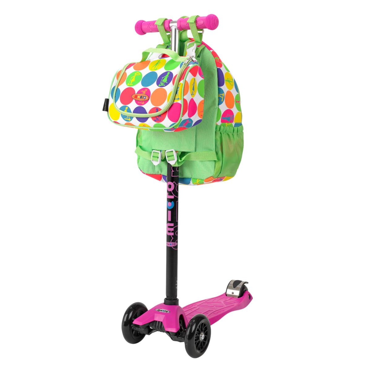 Maxi Micro batoh a svačinová taška - neon dots - 02