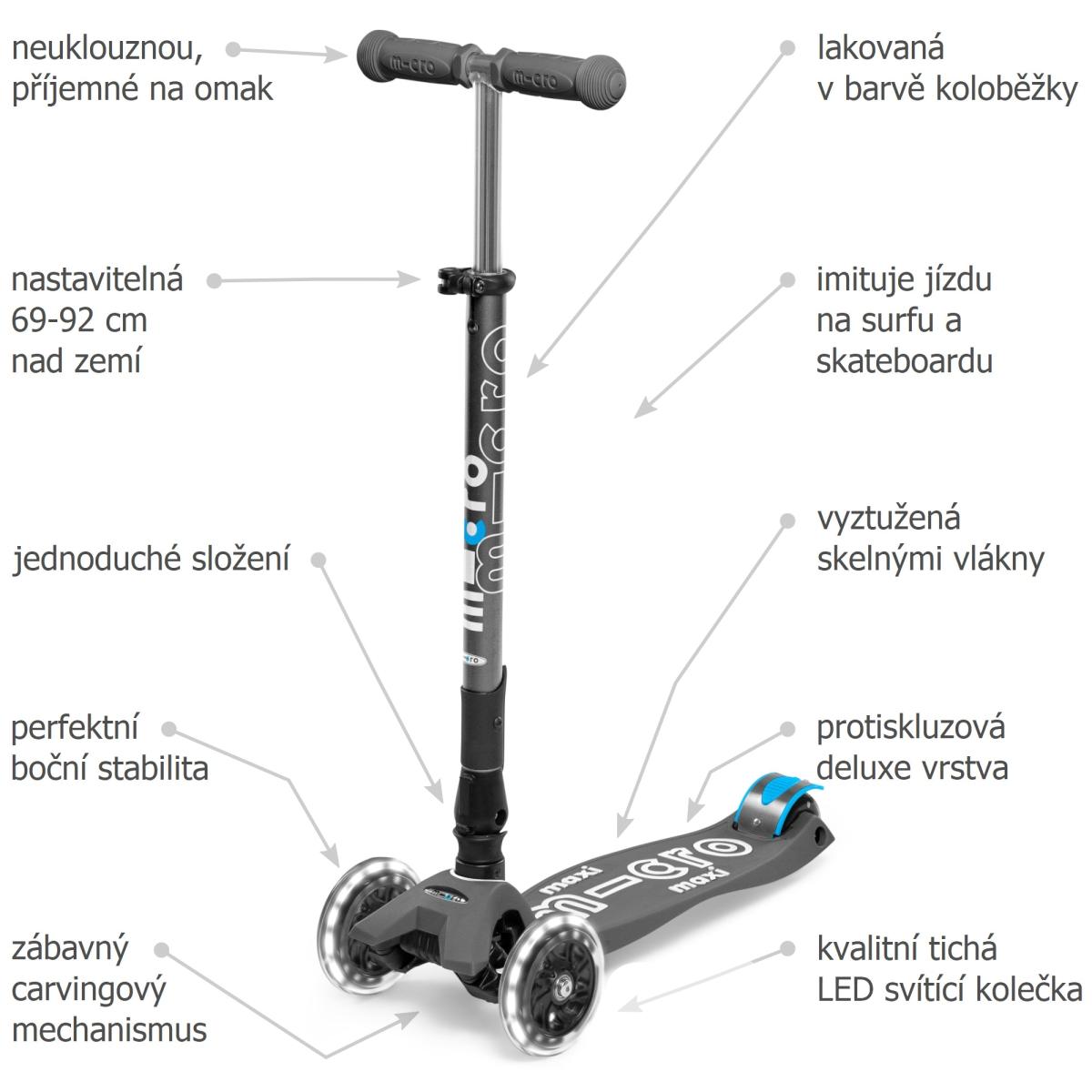 Maxi Micro Deluxe skládací - volcano grey LED - 02